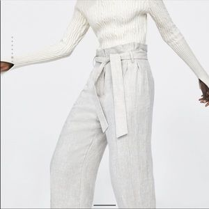 Zara Linen high waisted pants